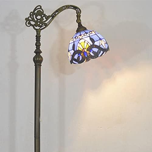 AIBOTY Lámpara de pie,Estilo de Tiffany Shade Barroco,Polo de Metal Antiguo,Base de Resina,63'Lámpara de Lectura de pie de Alto Piso para Sala de Estar,E27,W8,Azul