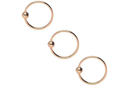 PIERCINGLINE 3er SET 925er STERLING SILBER Nasenpiercing | KUGEL | Piercing Nase Ring biegbar | Farb & Größenauswahl