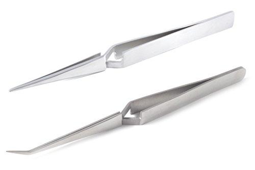 blueINOX Pinzetten-Set: 2 Lötpinzetten/Kreuzpinzetten/Industrie-Pinzetten/Technischen Pinzetten mit gerader und abgewinkelter Spitze Edelstahl rostfrei