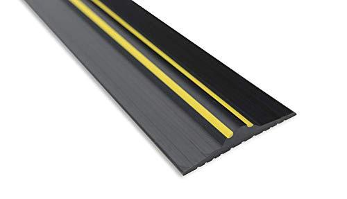 Weather Stop 20 mm (Höhe) Bodenabdichtung für Garagentore | 5,56 m | PVC schwarz/gelb | Kleber im Kit enthalten
