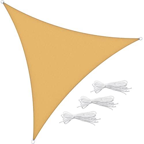 Velway Tenda a Vela Ombreggiante Triangolare 3x3x3m, Telo Parasole Tenda da Sole Esterno in Oxford 300D Anti-UV e Antipioggia, Tendalino per Giardino Barca Balcone Terrazza Campeggio, Giallo Sabbia