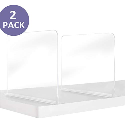 Bee Neat Clear Acrylic Closet Shelf Dividers for Clothes, Handbags, Purses, Books, Sweaters - Adjustable Shelf Organizers & Storage Suitable for Wooden or Flat Shelves - Pack of 2