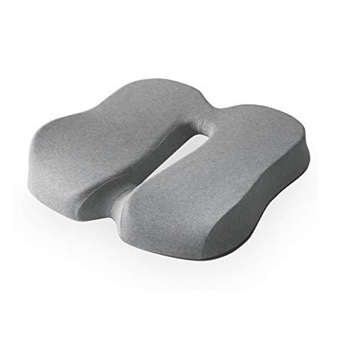 F-HOME Almohadillas De Asiento, Cojín De Oficina Espuma Transpirable Hermosas Nalgas Engrosadas Hemorroides Estera Ortopédica (Color : Light Gray)