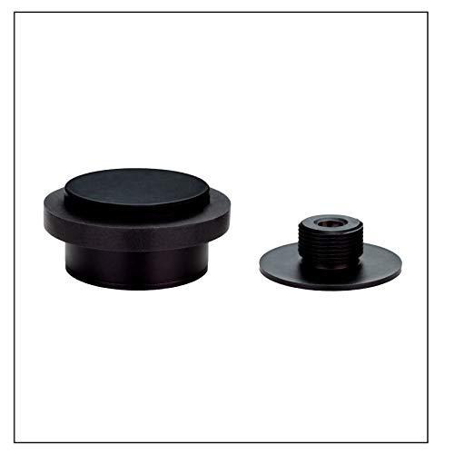Klebetürstopper mit Gewindesockel, Edelstahl, schwarz lackiert, schwarzer Gummi
