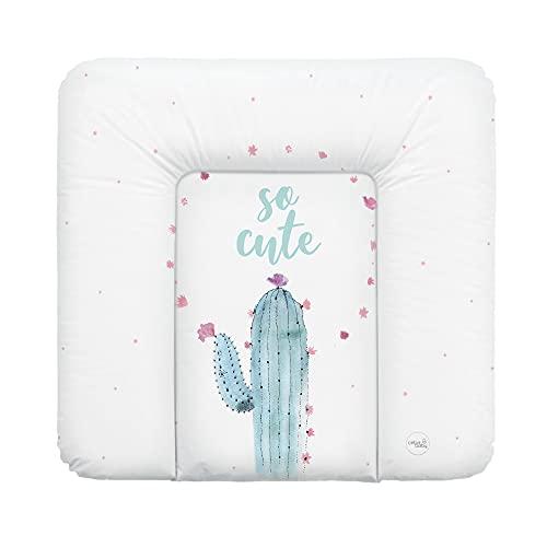 Ceba Baby Wickelauflage weiche Wickelunterlage Baby Wickeltischauflage Abwaschbar 75x70 Wasserfarben Kollektion - Kaktus
