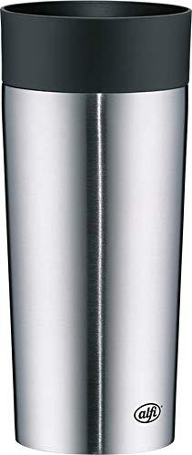 alfi Thermobecher isoMug Plus, Kaffeebecher to go Edelstahl mattiert 350ml, Isolierbecher mit Druckknopf, dicht, zerlegbarer Verschluss, 5627.205.035 spülmaschinenfest, 4 Stunden heiß, BPA Frei