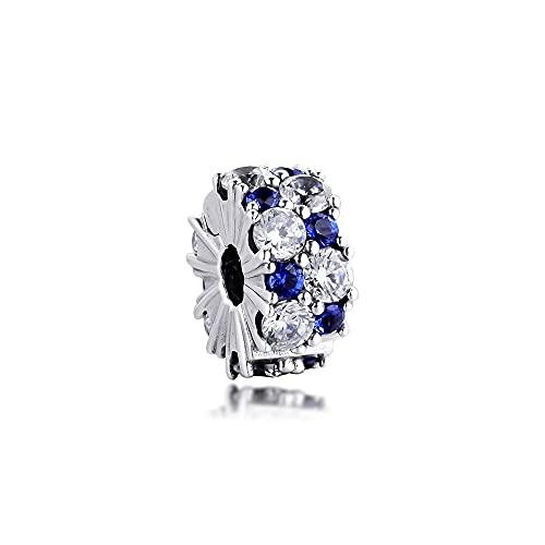 LIIHVYI Pandora Charms para Mujeres Cuentas Plata De Ley 925 Joyas De Clip Brillante Azul Claro Compatible con Pulseras Europeos Collars