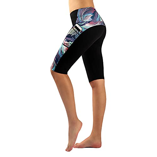 ArcherWlh Leggings Push Up,New Print Split Pantaloni da Yoga Ladies Europa e Stati Uniti Cinque Punti Pantaloni Sportivi Hip Pantaloni per Il Fitness Respirabile-Collisione_XS.