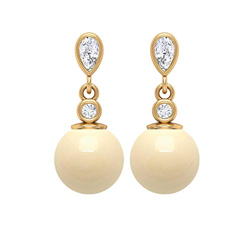 Vintage Wedding Earring, 5 CT Japanese Cultured Pearl Drop Earring, HI-SI Diamond Bezel Earrings, Gold Drop Earrings, 14K Yellow Gold, Pair