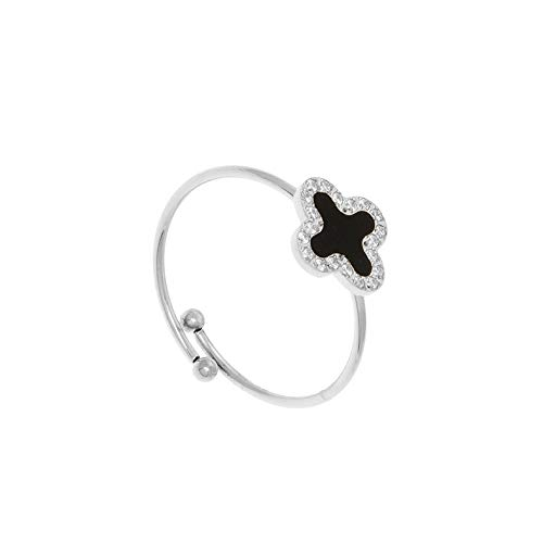 Zag Bijoux Clover Ring with Cubic Zirconia and Black (Silver)
