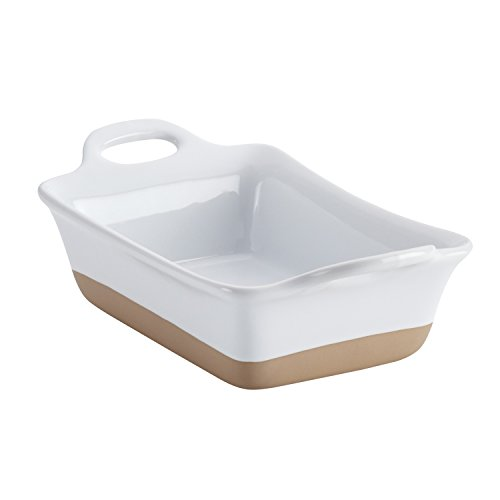 Rachael Ray Stoneware Rectangular Small Au Gratin Pan, 12 oz, White