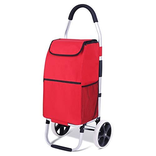 Lanrui Caja sobre Ruedas con Asa, Bolsas De Trolly De 2 Ruedas, Bolsas A Prueba De Agua para El Supermercado Rojo (Color : Red)