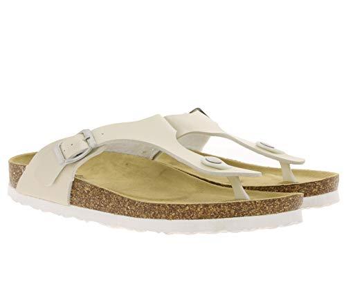Bio Life Pantoletten stylische Zehentrenner für Damen Latschen Sandalen Creme, Größe:38