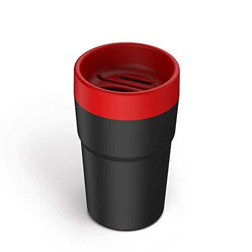 ZZKK multifunctionele afvalemmer, voor auto, organizer, opbergdoos, voor munten, zakdoeken, rood
