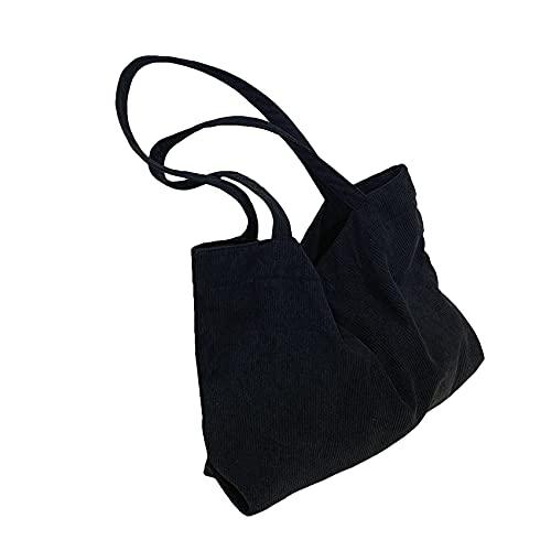 ZSDFW Bolsa de hombro para mujer, de gran capacidad, para la compra, casual, bolsa de playa, para viajes, uso diario, color negro