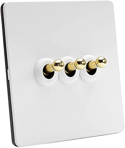 Ploutne Palanca de latón Panel de acero inoxidable Blanco Lámpara de pared 1-4 Gang Way Switch de alterno retro Interruptor de interruptor 110-250V Interruptor de luz de pared antiguo Retro Interrupto