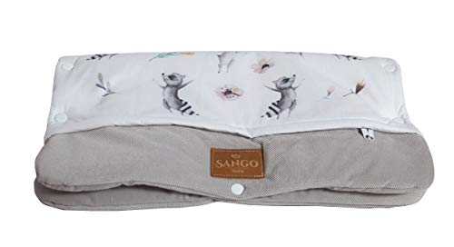 Sango Trade Universal Kinderwagenmuff für einen Trolley Handwärmer 28 x 50 cm Kinderwagen Handschuhe Baumwolle antiallergische Füllung (Kaninchen und Waschbär)