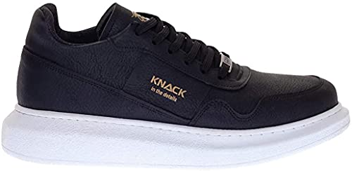 Knack 040 - Zapatos para hombre, estilo informal, para uso diario, ligeros, transpirables, para caminar, color negro (suela blanca), Black, 42 1/3 EU