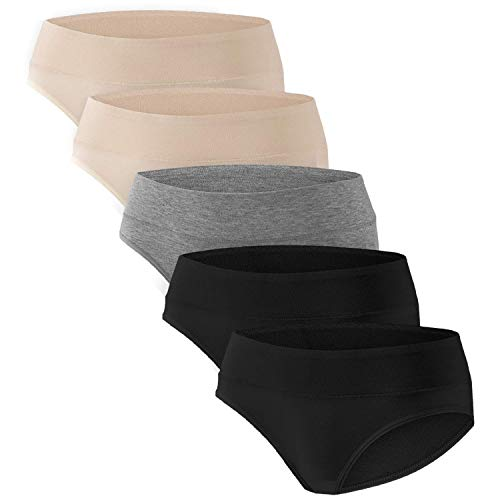 Angelhood Womens Maternity Panties Foldable Maternity Underwear Under Bump Pregnancy Postpartum Brief Pack of 5