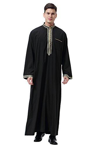 GladThink Hombres Musulmán árabe Medio Este Collar del Soporte Túnica Negro XXXL