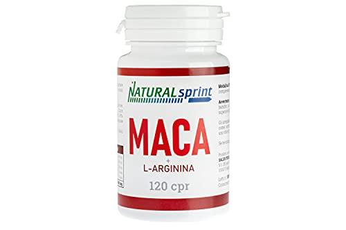 Natural Sprint Maca Peruviana, L-Arginina, Vitamina C e Zinco - 120 Compresse Vegan - Made in Italy