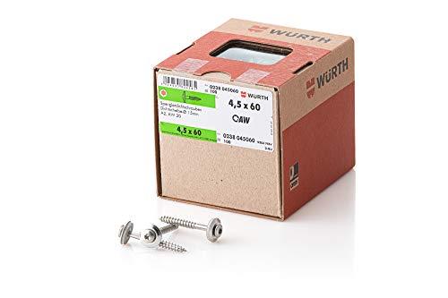 Würth 238045060  Spenglerdichtschraube Edelstahl A2 Blank mit Scheibe AW20  Dia 15mm ,100 Stück