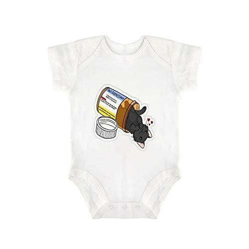 DKISEE Babybody mit Babyflasche und Katze, niedlich, lustig, für Jungen und Mädchen
