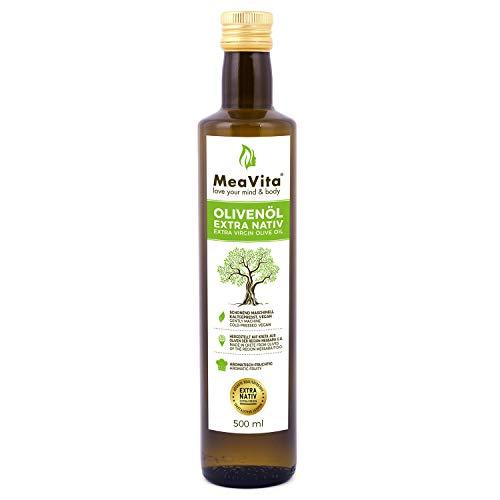 MeaVita Olivenöl, extra nativ & kaltgepresst, (1x 500ml) fruchtiges Olivenöl zum Kochen in nachhaltiger Glasflasche