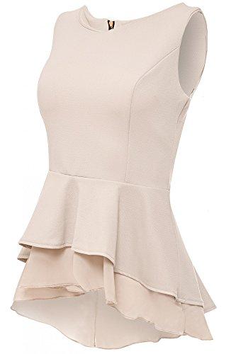 Laeticia Dreams Damen Bluse Schößchen S M L XL, Farbe:Beige, Größe:42
