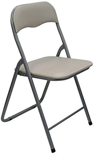Klappstuhl, zusammenklappbar, PVC, abwischbar, gepolsterter Sitz, Taupe / Creme