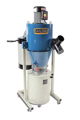 Baileigh DC-600C Cyclone Style Dust Collector, 604 CFM, 20 gal Drum and 6' x 4' x 2' Inlet, 1-1/2 hp, 110V