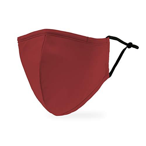 Weddingstar Masque en tissu lavable Tissu de protection réutilisable et réglable Couvercle avec poche pour filtre à poussière - Rouge foncé