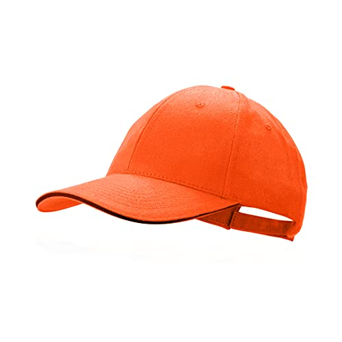 Makito Gorra naranja béisbol padel golf gorra 6 paneles 100% algodón peinado cierre ajustable gorra unisex