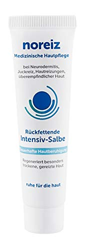 noreiz Rückfettende Intensiv-Salbe 15ml • Medizinische Hautpflege bei sehr trockener, gereizter Haut, Neurodermitis und gegen Juckreiz • Wirkstoff Thiocyanat • Made in Germany
