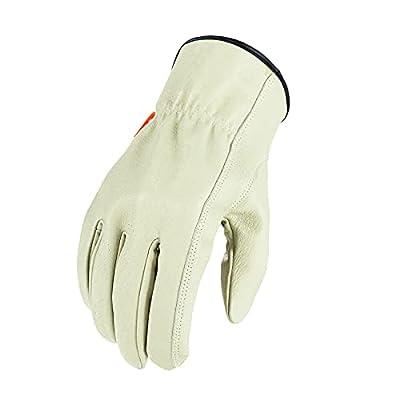 Vgo 3Pairs Safety Pigskin Leather Work Gloves Men,Rigger Gloves,Builder Gloves(Size XL,Cyan,PA9501)