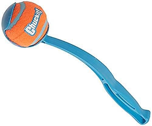 Chuckit! Sporthundeball-Taschenwerfer; Hands Free Pick Up and Throw Play; Tennisball- und Werferspielzeug; Verschiedene Farben; Mittlere Kugel; 30cm lang