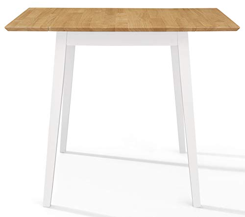 Hallowood Ledbury Small Wooden Kitchen Drop Leaf Dining Table in White & Oak, Rubberwood, White Painted Body with Light Oak Finish Top, LEB-TAB970-W