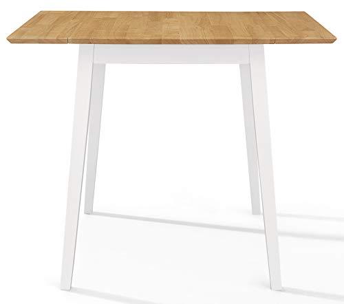 Hallowood Ledbury LEB-TAB970-W Kleiner Esstisch aus Holz in Weiß und Eiche, Gummibaumholz, weiß lackierter Korpus mit heller Eichenoberfläche