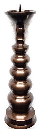ロウソク立 地火灯 仏壇 ろうそく立て 各サイズ 日本製の高岡仏具 (3寸(高さ10×皿3.3cm), うるし風(茶色))
