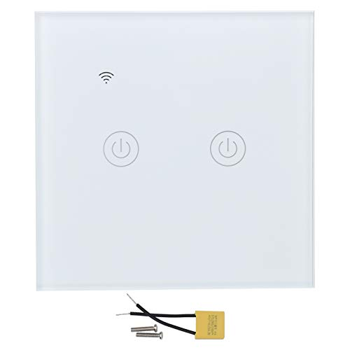 DS-101-2 Smart WiFi Touch Switch, ABS + PC 2-Way Smart Wireless WiFi Touch Switch, White Smart WiFi Remote Control Switch 200-240VAC, con 100000 veces de vida útil
