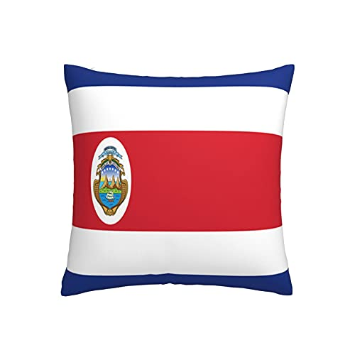 Kissenbezug mit Flagge von Costa Rica, quadratisch, dekorativer Kissenbezug für Sofa, Couch, Zuhause, Schlafzimmer, für drinnen & draußen, 45,7 x 45,7 cm