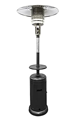 Hiland HLDS01-CB 48,000 BTU Propane Patio Heater w/Wheels and Table, Large, Hammered Silver