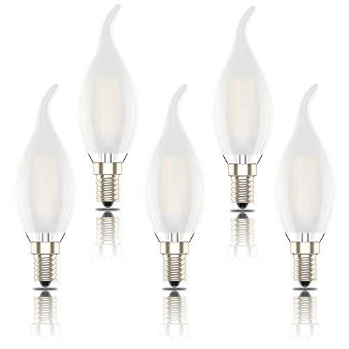 Phoenix-LED E14 Ampoule Flamme Dimmable, Ampoule à Filament intensité variable Bougie, 4W Equivalence Incandescence 40W,Blanc Chaud 2700K,400lm, Lot de 5