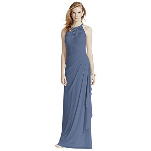 David's Bridal Long Mesh Bridesmaid Dress with Illusion Halter Neckline Style F15662, Steel Blue, 24