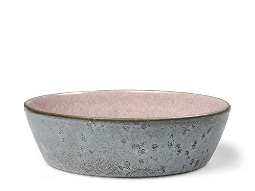 BITZ Suppenschale, Suppenschüssel aus Steingut, 18 cm im Durchmesser, grau/hellrot