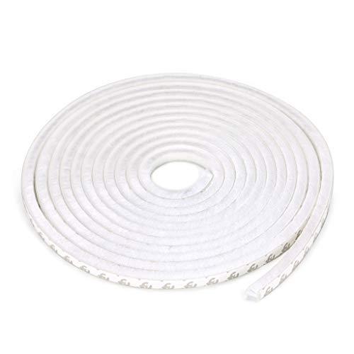 Sumnacon Dichtungsband für Fenster, Kleiderschrank oder Tür/Schiebetür, Staubschutz/Wind/Mücken/Lärm (9 mm x 9 mm x 5 m), weiß