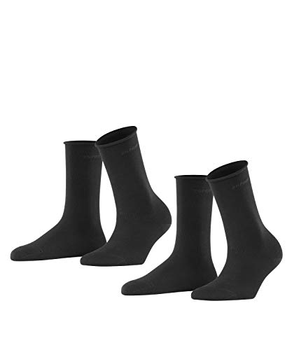 ESPRIT Damen Basic PURE 2-Pack W SO Socken, Blickdicht, Schwarz (Black 3000), 35-38 (2er Pack)