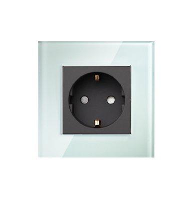 Glas Steckdosen Wandsteckdose mit Glasrahmen für Unterputz von LUXUS-TIME BT511 (Weißer Rahmen+Schwarzes Steckdosenmodul)