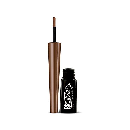 Manhattan Brow Shake Filling Powder, 2in1 Augenbrauenpuder und Eyeliner, Definierte Augenbrauen oder Smokey-Eyes-Look, Farbe Medium Brown 002, 1 x 2,5g