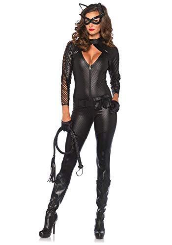 shoperama Wicked Kitty Damen-Kostüm von Leg Avenue Catsuit Batman Catwoman Katze Overall, Größe:S
